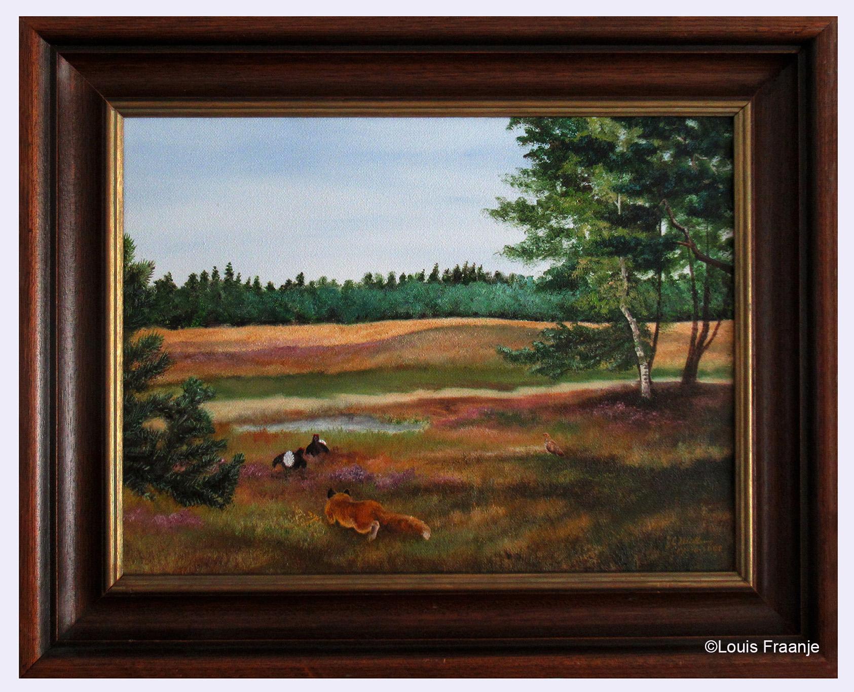 Een vos besluipt de bolderende korhanen - Foto van het schilderij: Louis Fraanje
