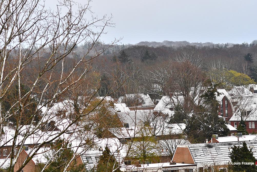 De daken in Ede-Zuid lagen onder een witte deken van sneeuw - Foto: ©Louis Fraanje