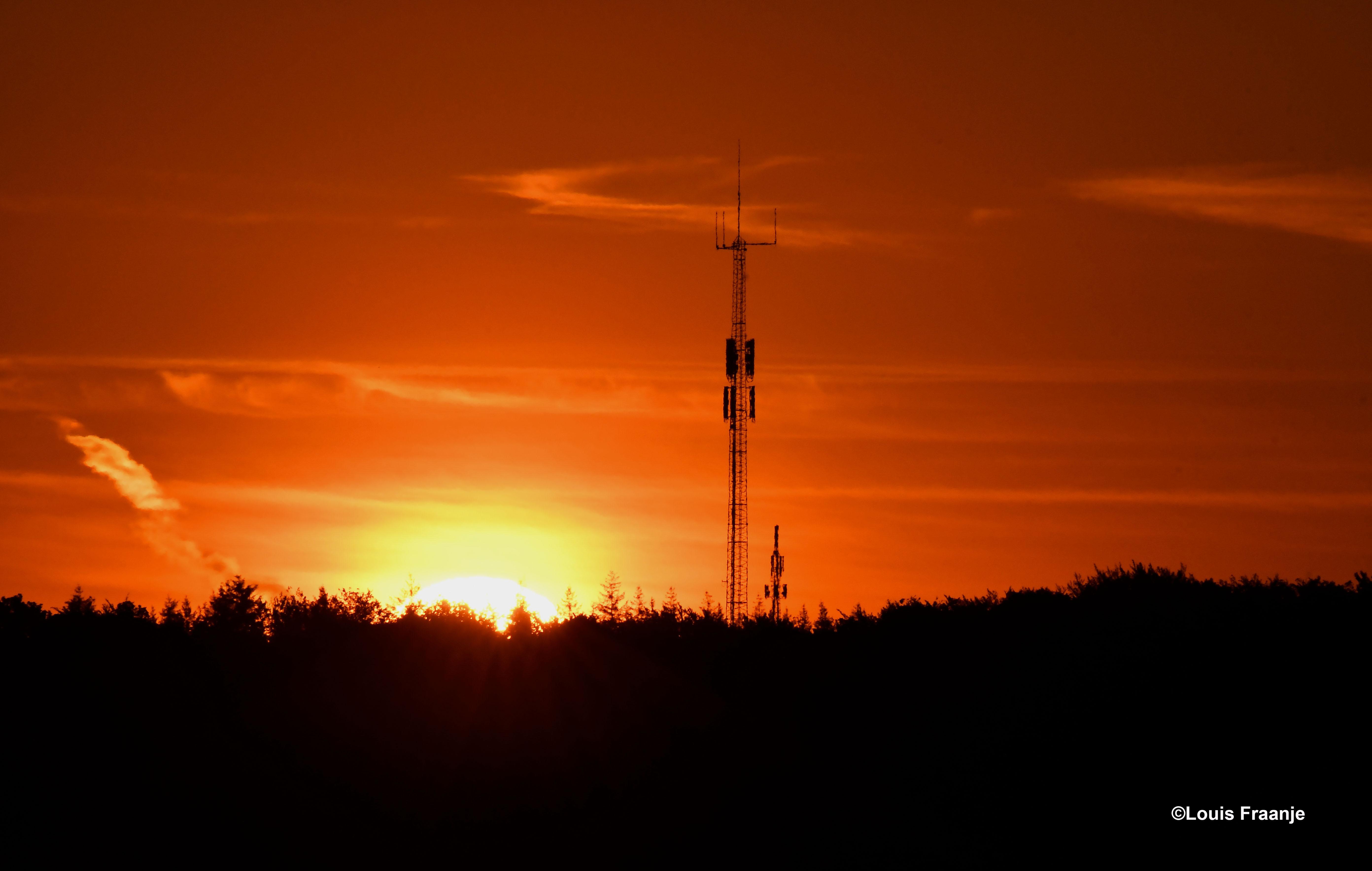 Een (stralende) zonsopkomst boven de Veluwse bossen, jammer van de zendmasten - Foto: Louis Fraanje