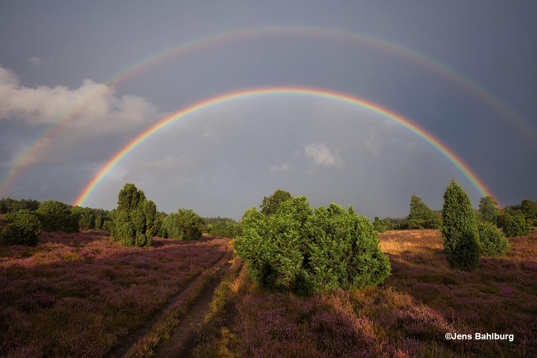 Een wonderschone dubbele regenboog in de Ellendorfer Wacholderheide - Foto: ©Jens Bahlburg