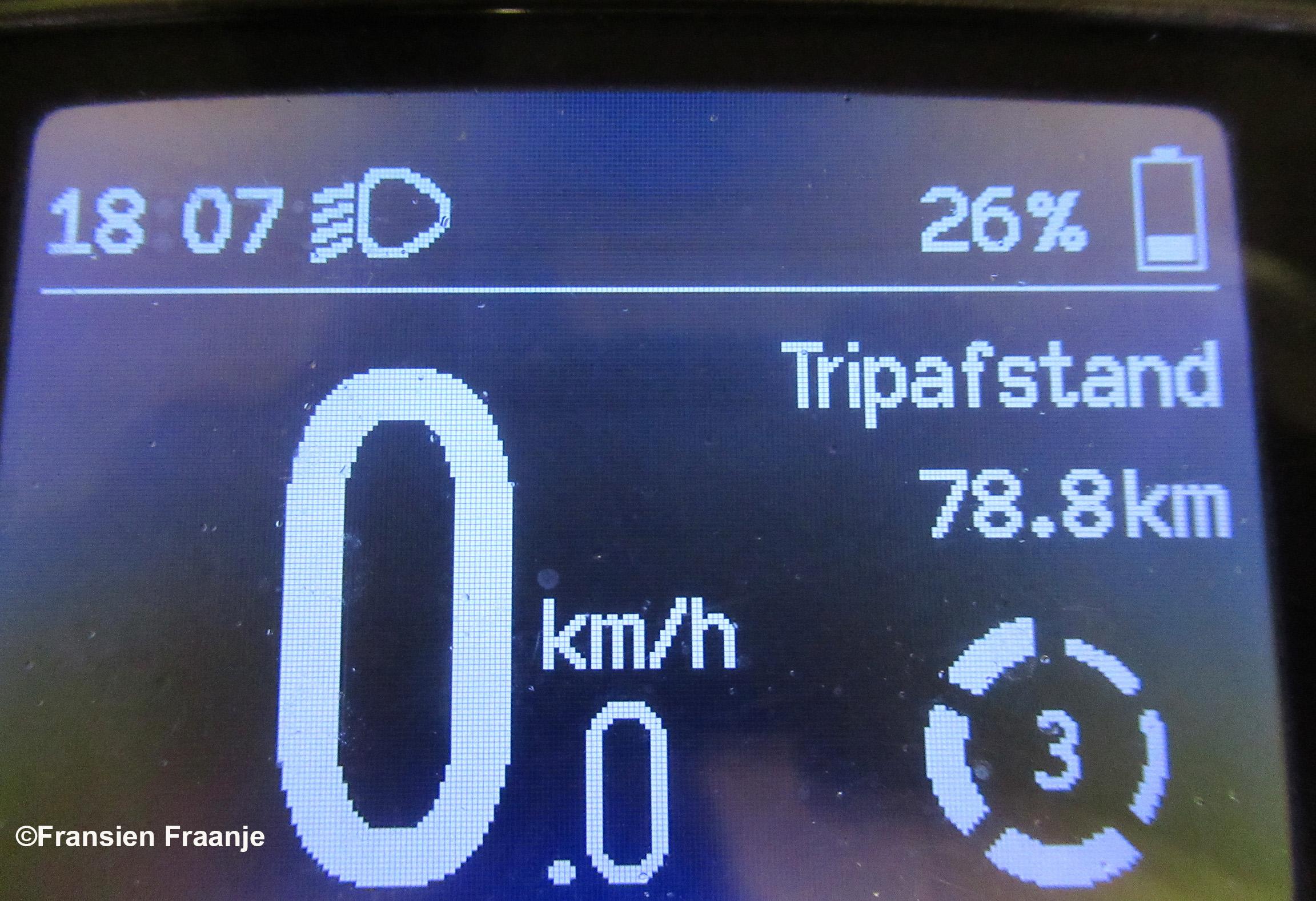 Weer thuis is op de teller te zien, dat wij bijna 80 kilometer hebben weggetrapt op onze Harley Trapsons. En... wat hebben we weer genoten onderweg - Foto: ©Fransien Fraanje