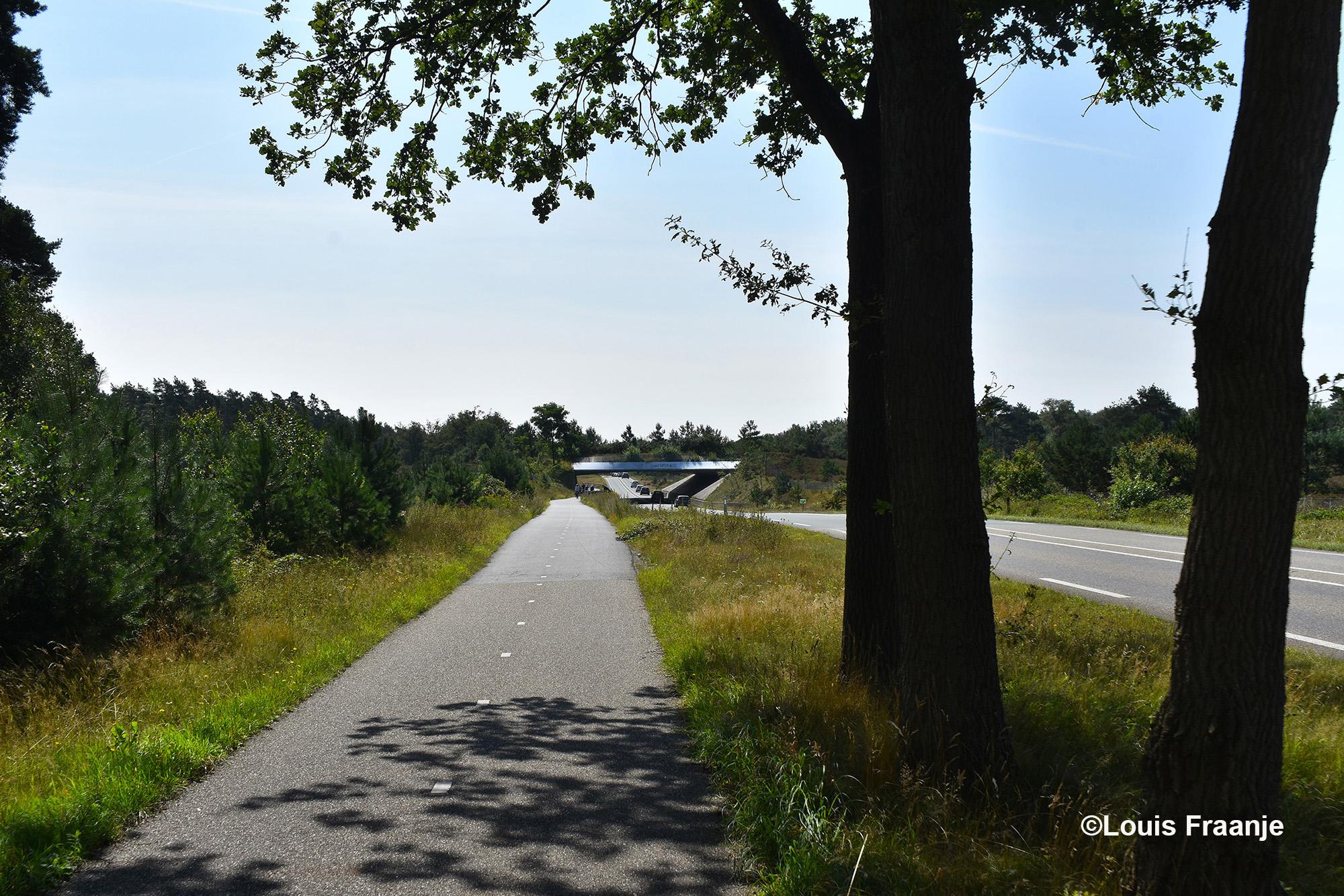 Hier rijden we over de Leusderheide langs de provinciale weg (N227) tussen Amersfoort en Doorn. In de verte zien we het ecoduct De Treeker Wissel liggen - Foto: ©Louis Fraanje